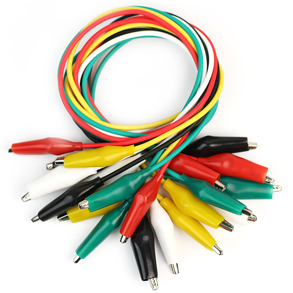 Cable And Electrical Wire : Pcs double ended alligator clip test wire color jumper