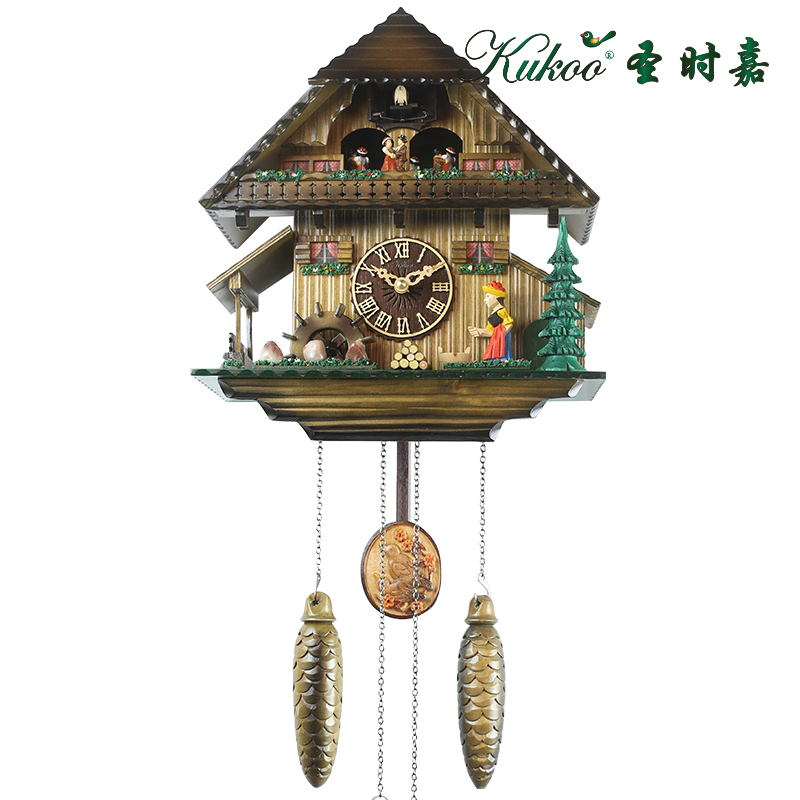 cuckoo solid wood wall clock exquisite musical alarm clock for children gift present in alarm. Black Bedroom Furniture Sets. Home Design Ideas