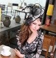 De la mujer Accesorios Para el Cabello Fascinator Del Pelo Sombreros Negro Niña de las Flores Arcos Del Pelo con Los Clips
