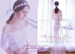 Maternity women Photography Props Very Beautiful feeling Long Lace aesthete Dress Fancy Photo Shoot See-through Romantic