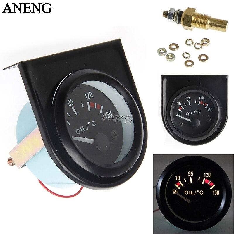 1 set 52mm LED Light Car Pointer Oil Temperature Temp Gauge 50-150 Degree Drop shipping