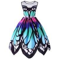 Plus Size 5XL Womens Vintage Butterfly Print Boho Summer Dress Robe Hepburn 50s 60s Rockabilly Asymmet
