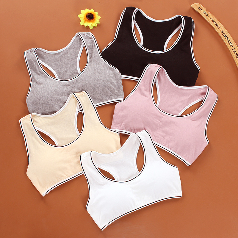 Kids Cotton Sports Training Bra Underwear Solid Color Striped Printed Scoop Neckline Teenage Puberty Girl Wireless Bralette Vest