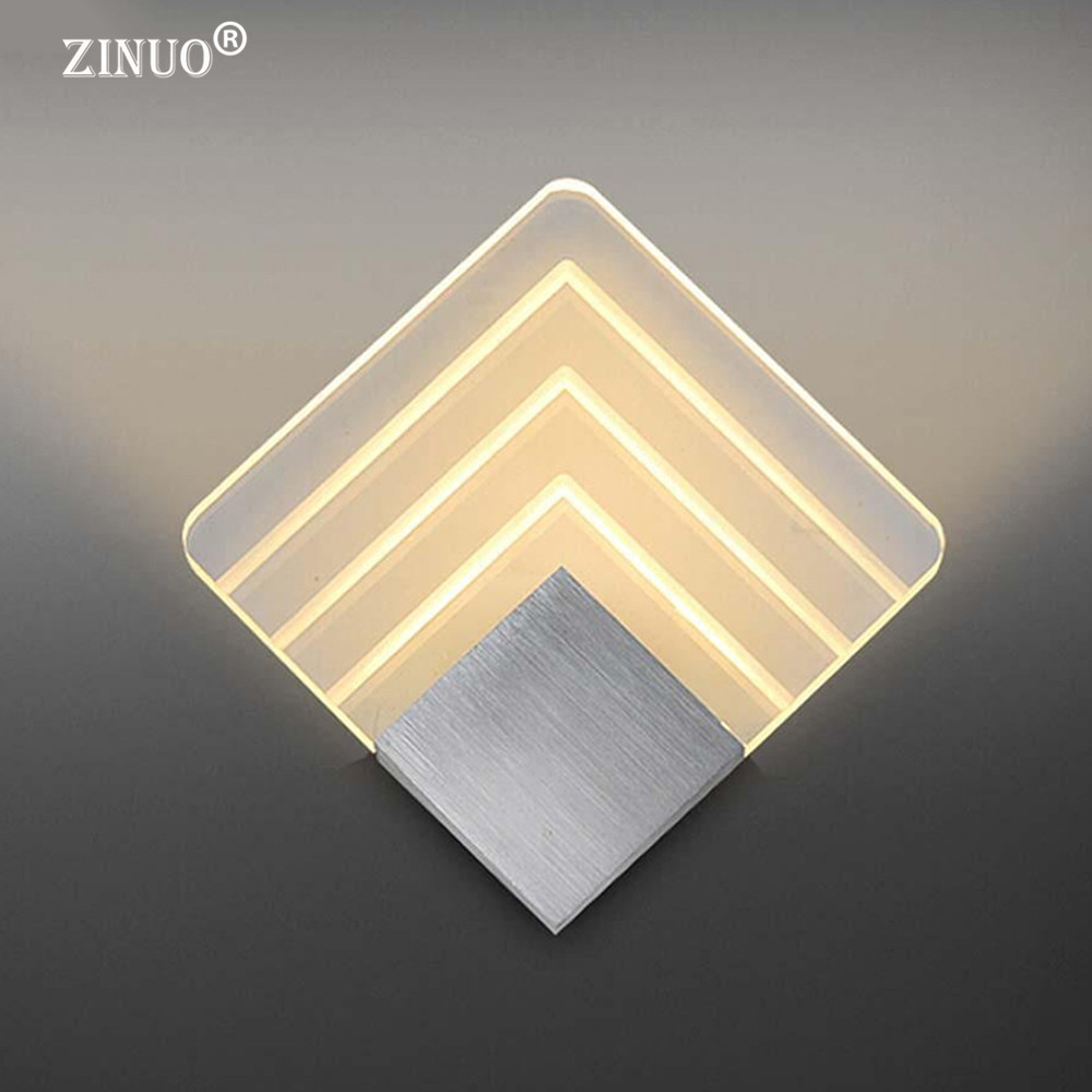 ZINUO Modern 5W Wall Light Acrylic Sconce Lamp Warm White Wall Mounted Lighting Fixture For Indoor Home Hotel Bedroom Decoration modern t shirt led wall lamp mounted light bedroom bedside sconce acrylic lampshade white painting indoor home lighting