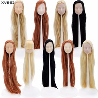High Quality Plastic Soft Doll Heads Mixed Style DIY Practice Makeup Face Colourful Long Hair Accessories
