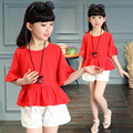 summer RED blouse +pants 2016 teens clothes clothing set flare sleeve kd 8 korean kids clothes girl 10 to 12 years