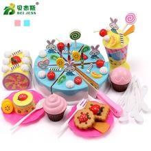 BEI JESS 64Pcs Girls Cake Kitchen Toys Mini Plastic Tableware Food Cuttings Set Gift Childrens Educational Toy