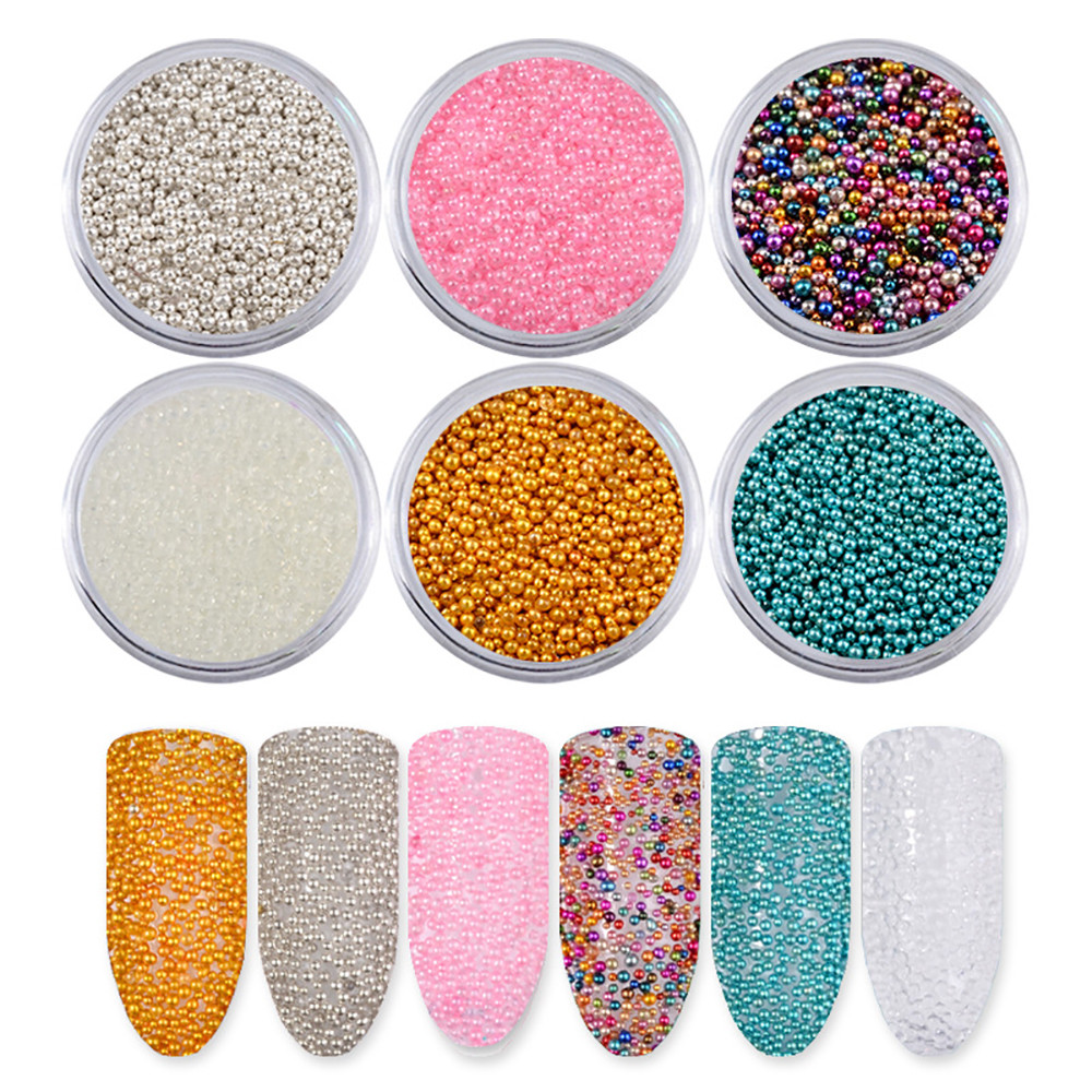 6Color Round Beads Sequin Powder Dazzling Sticker Colorful Nail Art Decoration womens fashion nails dip powder Facial Cheek