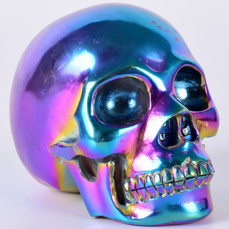 Halloween Electroplate Multi color Skull Figurine 1673 g Crystal Carved Statue Fengshui Natural Stone Home Decor Art Collectible