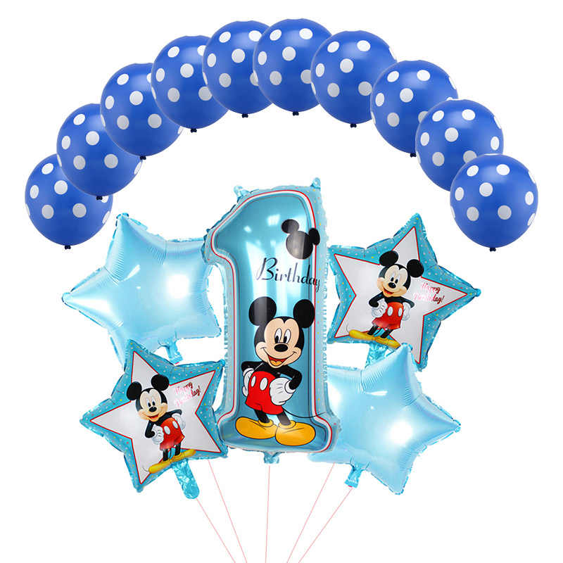 15pcs/set Mickey Minnie Foil Balloons 32inch Mickey Number 1 Balloon Set Baby 1th Birthday Party Decorations Kids Inflatable Toy