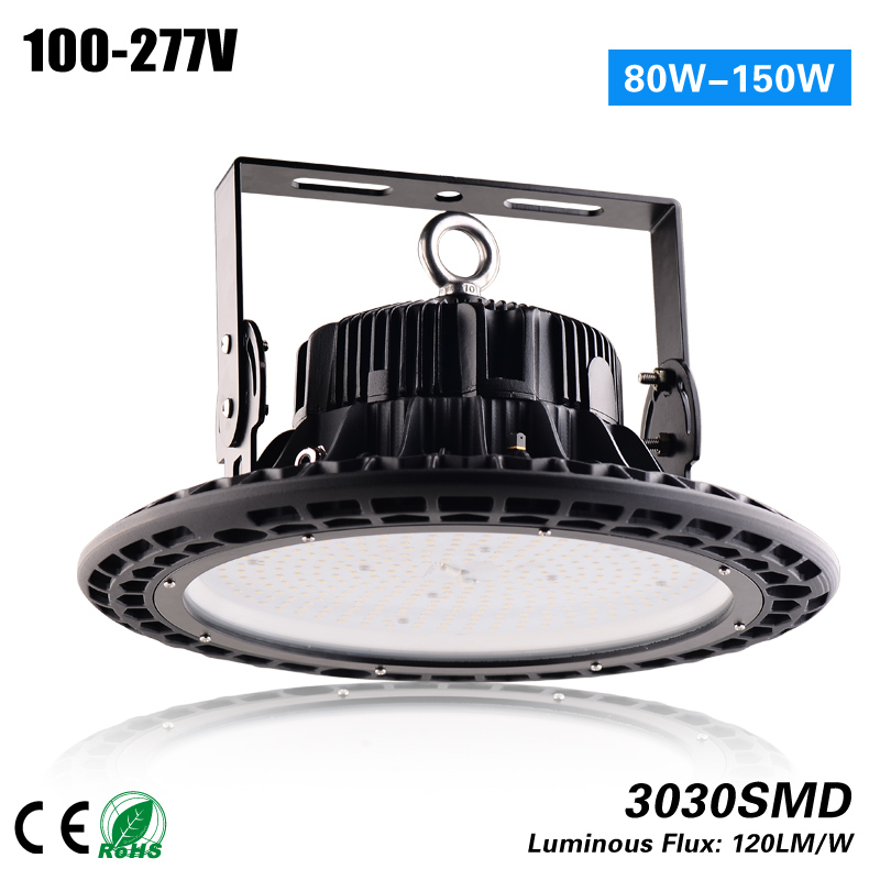 Free Shipping 3 years warranty IP67 UFO highbay 120lm/w 80W can replace 200w HPS 100-277VAC CE ROHS 3 years warranty 100