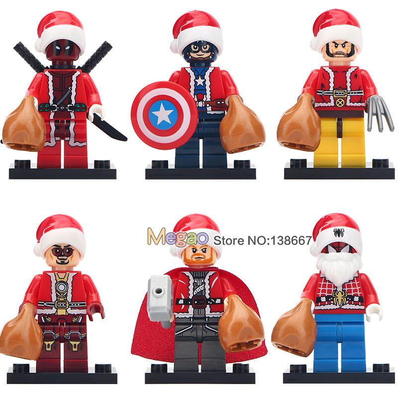 Intellective 6pcs/lot Spiderman Ironman Wolverine Thor Deadpool Captain Americaassemble Building Blocks Christmas Legoingly Toys For Children Attractive Fashion Model Building Toys & Hobbies
