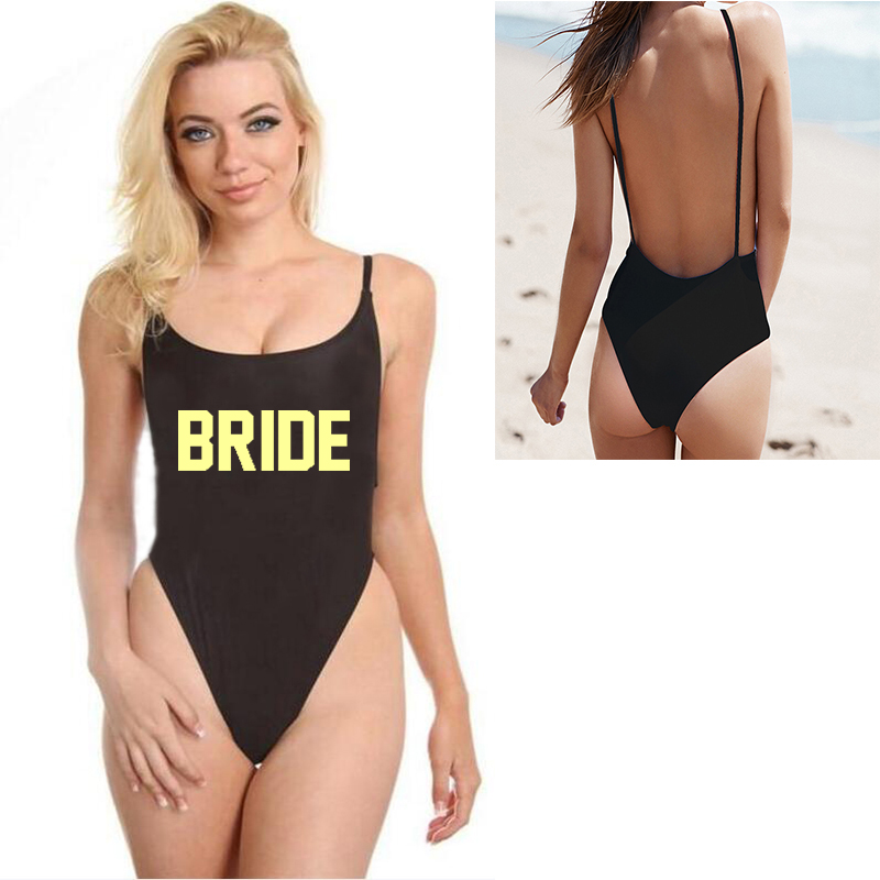 cdf492810aa Tong BRIDE String One Piece Swimsuit Wedding Party White Letter Print Plus  Size XL Body Suit Sexy Summer Bikini For Female