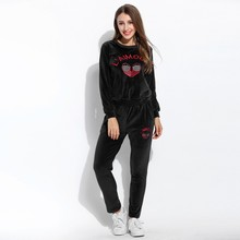 Alishebuy Pullover Sweatshirt And Pants Set Velvet Embroidery O Neck Long Sleeve New Women Clothes Set Tracksuit