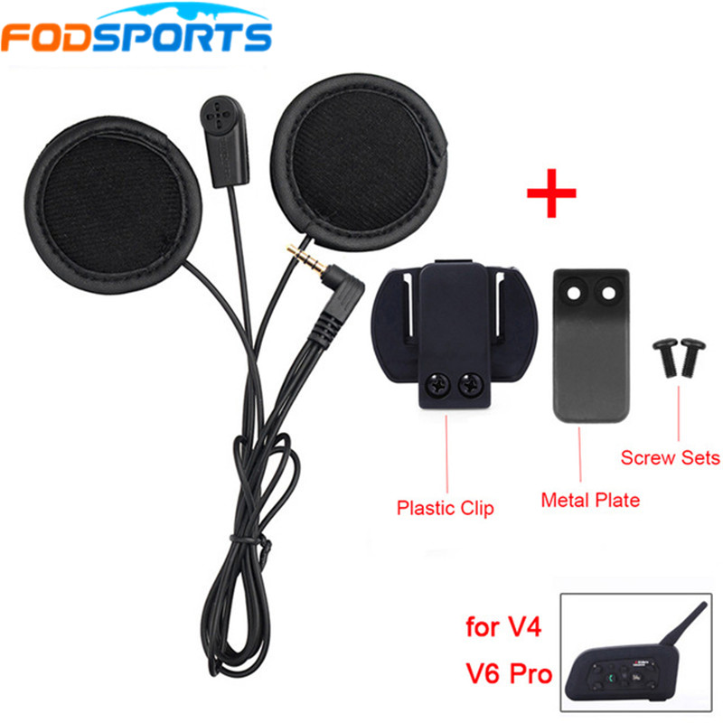 Fodsports Helmet Headsets Intercom Headphone Soft Wire With Metal Clip For V6Pro V4 Interphone Earphone 3.5mm Stereo Jack Plug