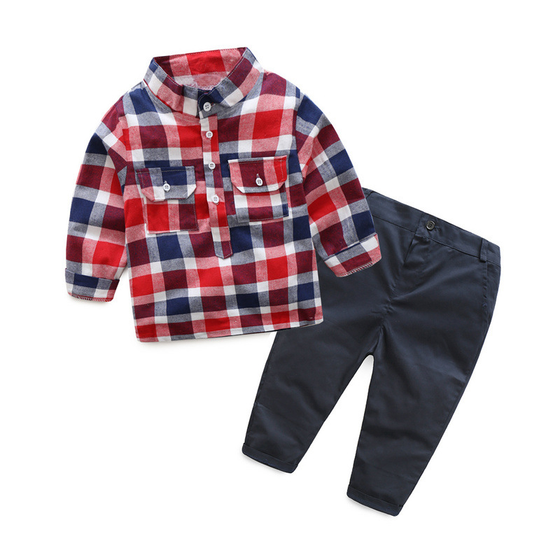 toddler infant boy clothing set for 1-6 years boys clothes suit fashion plaid shirt + trousers 2 pieces kid clothing spring
