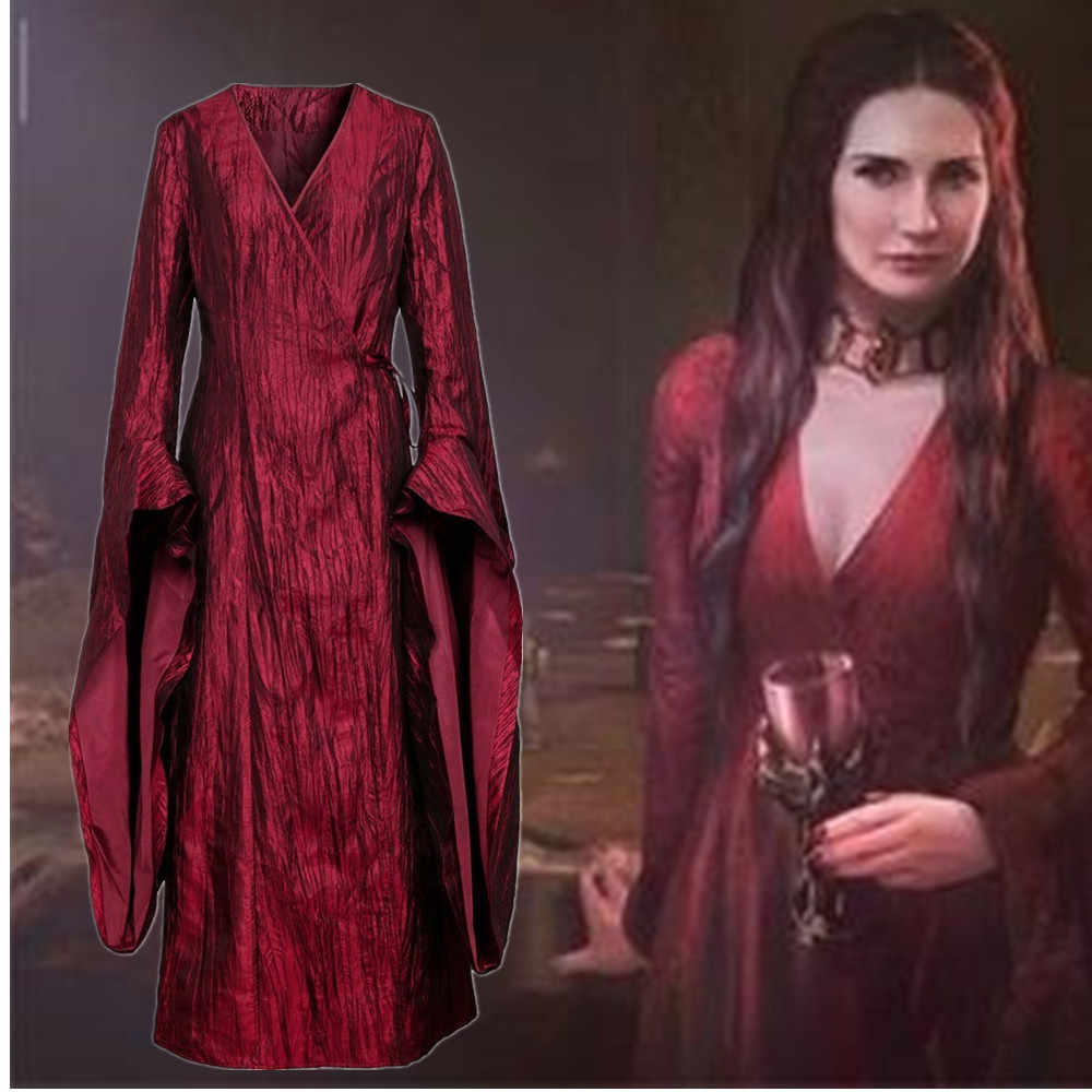 Takerlama Game Of Thrones Season 8 Melisandre Retro Merah Long Gaun Wanita Cosplay Halloween Karnaval Pesta Kostum