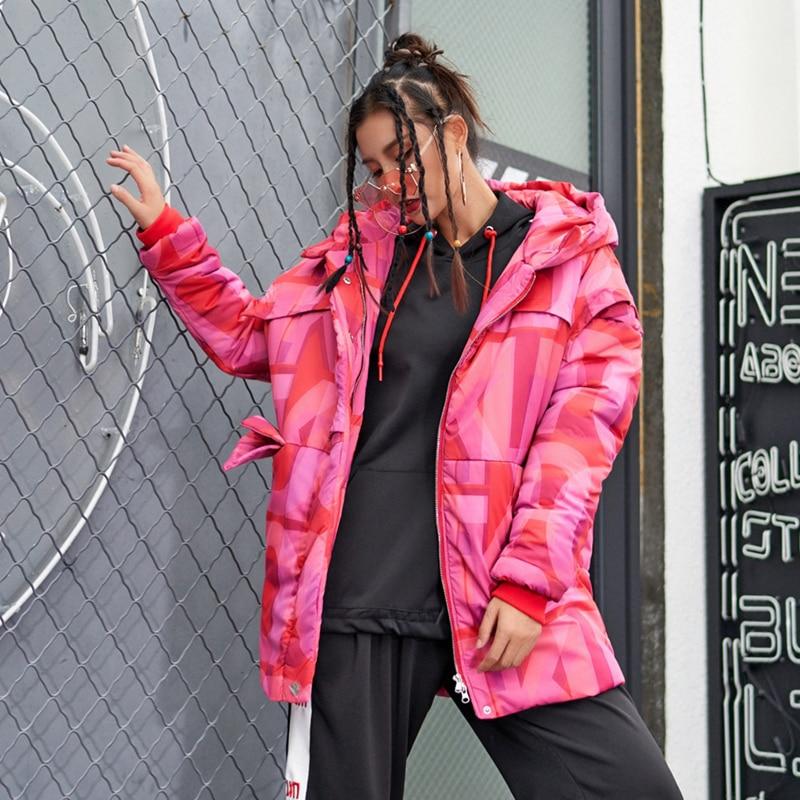 Manteau Harajuku Coupe Z489 La Longues De Féminine Nouvelle D'hiver Épais Red Chaud Manches Lâche Capuche Vêtements Imprimer Décontracté Parkas Mode Femmes Lettre À wxOqt81wH