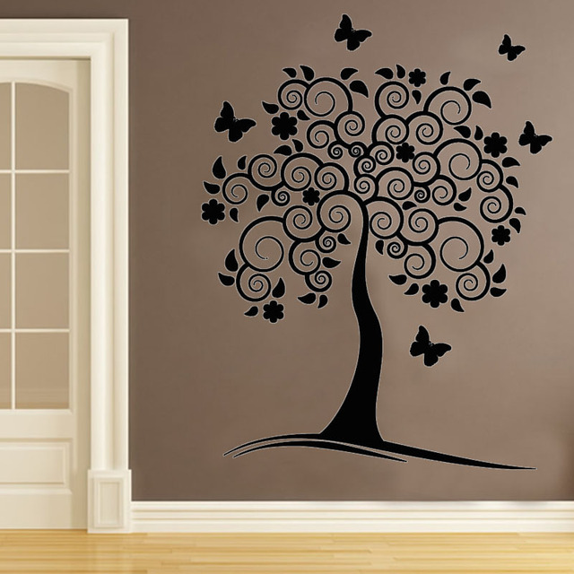 Vinyl Removable Wall Decals Swirl Flower Tree Wall Decor Sticker DIY  Butterflies Living Room Home Decoration