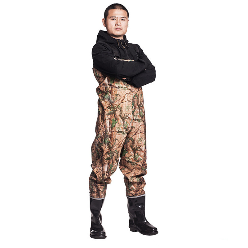 Eu 38 45 Fishing Waterproof Knitting Waders Clothes Pants Wear resisting With Non slip Boots Farming Camouflage Hunting Trousers-in Hunting Pants from Sports & Entertainment    1