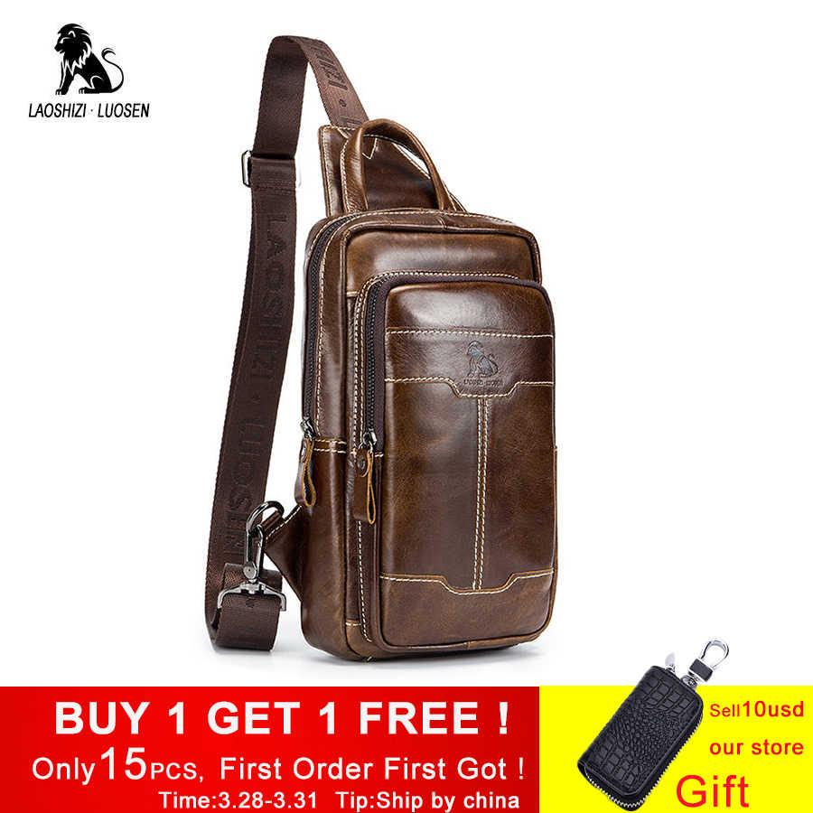 f0161ac29cd6 LAOSHIZI LUOSEN пояса из натуральной кожи Груди Мешок Для Мужчин's  Crossbody нагрудная сумка человек сумка маленькая