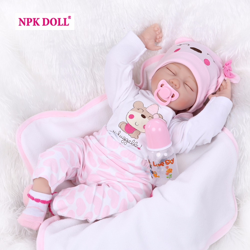 NPK Collection Silicone Reborn Baby Dolls Alive Appease Sleeping Toy for Kids Handmade Doll with Kleding Lifelike Boneca Gift npk collection handmade bjd doll 18 inch girl doll include clothes shoes plastic baby princess doll plaything toy for children