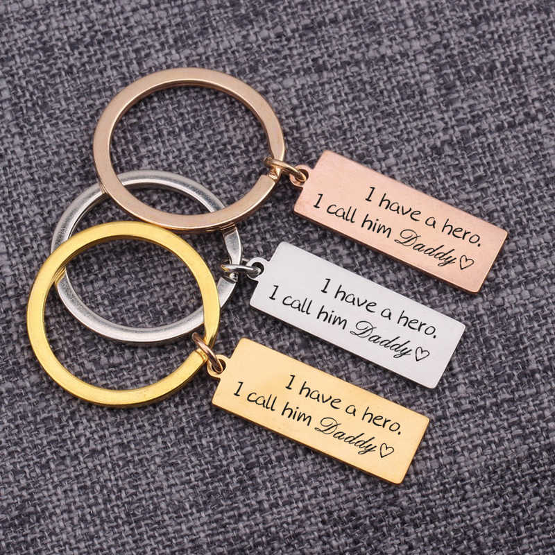 Hand Stamped Daddy Key Chain We have a hero We call him dad Key Chain Fathers Day gift