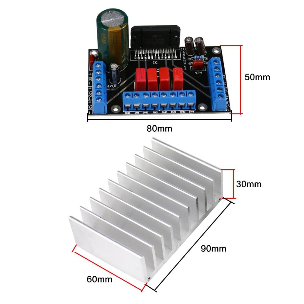 Upgrade TDA7388 4,0 Power Verstärker Modul 4*41 watt Vier kanal Audio Verstärker Board DC12V Mit Kühlkörper 1 stück