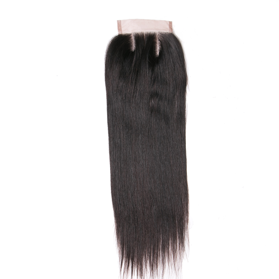 Queenlike Human Hair Products Three Part Closure 130% Density Swiss Lace Remy Hair Natural Color Straight Lace Closure