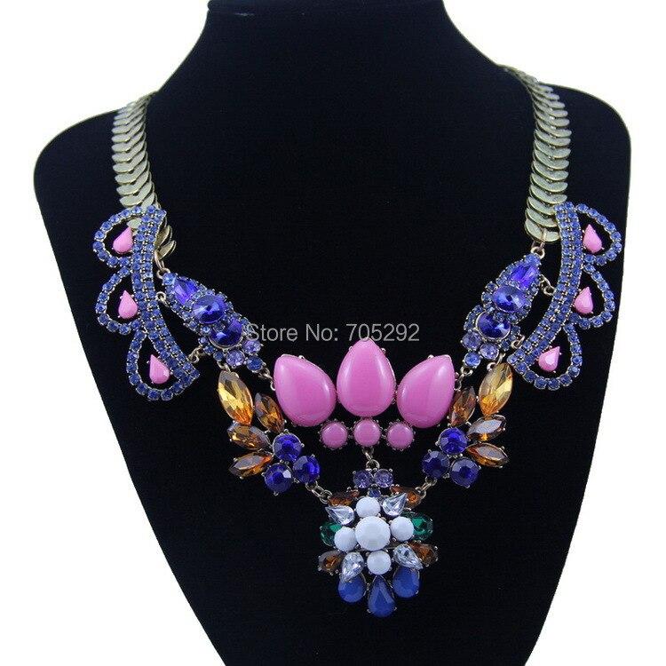 4167ada1f81f Nuevo lujo vintage declaración choker collar cadena cristal flores Collares  y colgantes para las mujeres