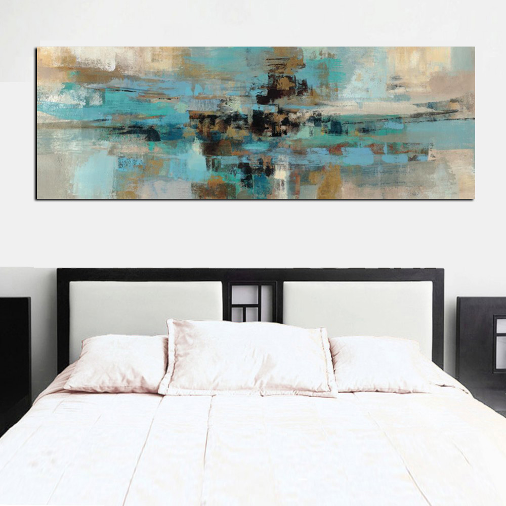 Light Blue Bathroom Wall Art Canvas Or Prints Blue Bedroom: Canvas Painting Light Blue Landscape Abstract Oil Painting