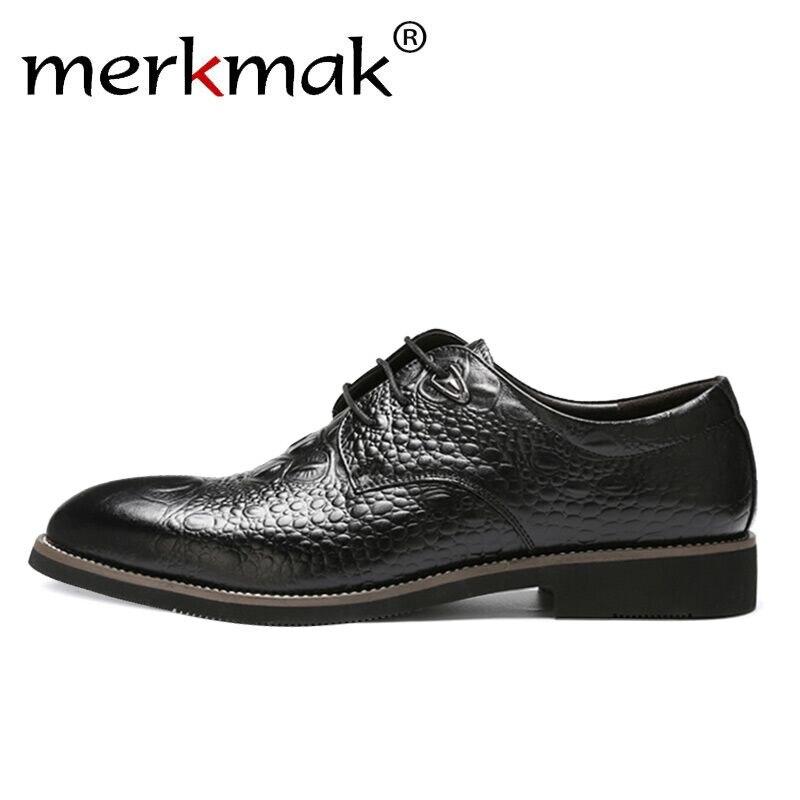 Merkmak Crocodile Skin Men Dress Shoes Lace Up   Leather   Oxfords Male Formal Comfortable Business Soft Man Footwear Office Flats