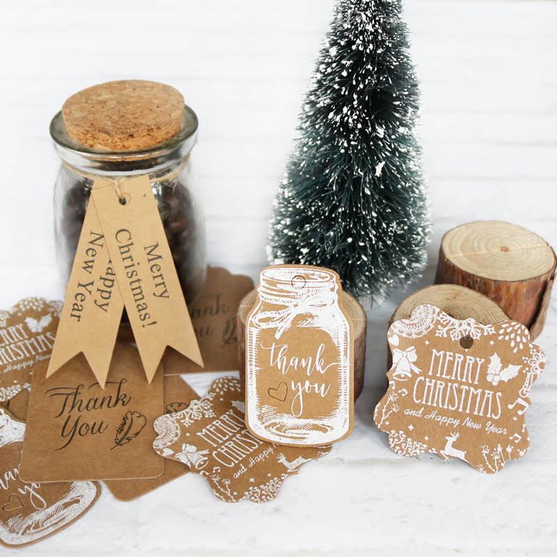 Tags Craft-Cards-Label Kraft Bottle-Shape Merry-Christmas Xmas-Favor Thank-You Party