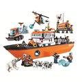 Nueva Bela 10443 760 Unids Ciudad Ártico Rompehielos Modelo Buildinlg Kits de Juguetes de Bloques de Ladrillo Compatibe Con