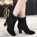 Genuine leather female spring and autumn boots high-heeled shoes net boots lace women's shoes