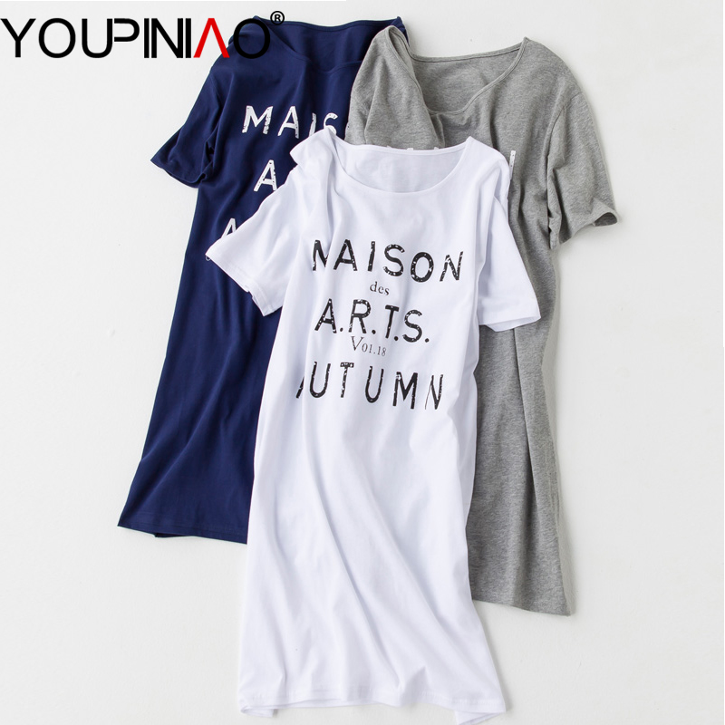 Summer women sleepwear cotton long nightgowns cartoon Long cotton sleep shirts