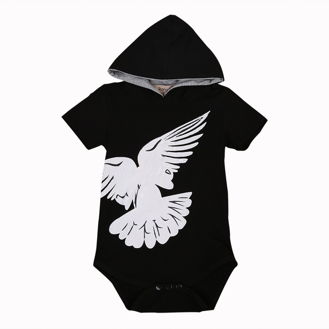 Infant Baby Boy Pigeon Romper Short Sleeve Hooded Jumpsuit Cotton