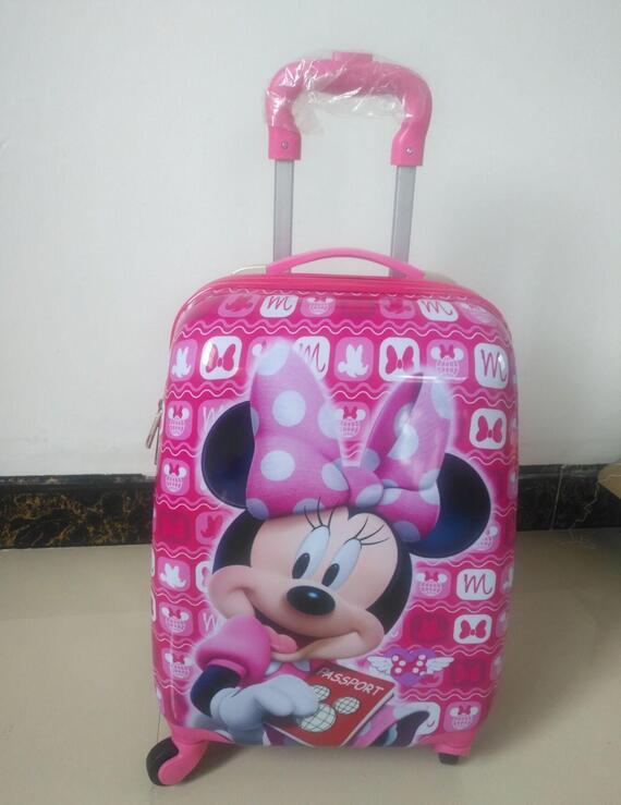 2018 new Cartoon Hardside Luggage boys&girls suitcase ABS travel Rolling Luggage 18 Kids Spinner Luggage Wheeled Bag