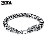 ZABRA Dragon Bracelet 925 Silver Jewelry For Men Vintage Punk Gothic Rock Powerful Gift Thai Silver Biker Thick Black Oxidation