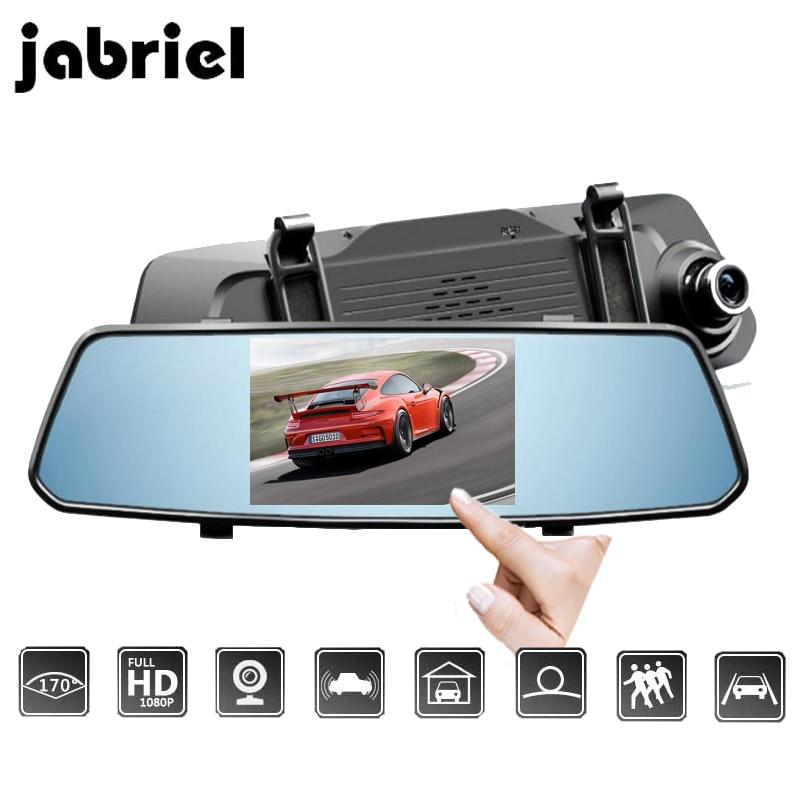 Jabriel 5 inch IPS Car DVRs Rear View Camera mirror auto registrars dvr car dash camera dual lens drive video recorder full hd