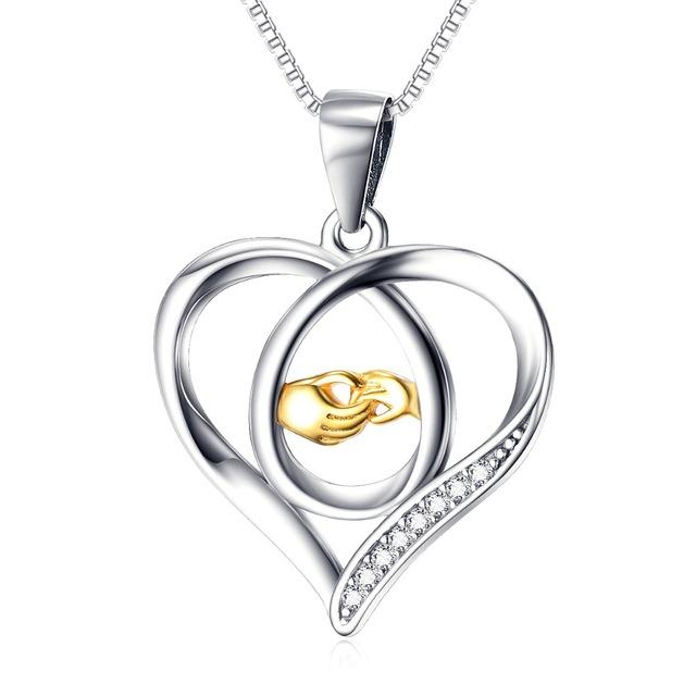 Plata de Ley 925 Collar de La Joyería Para Las Mujeres Madre de Asimiento de la Mano la Mano del bebé del Amor Del Corazón Colgante