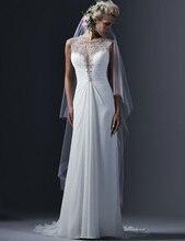 Free Shipping Custom made Beach Wedding Dresses Elegant Cap Sleeve O-NECK Vintage Vestido de Noiva 2017 Wedding Dress Of China
