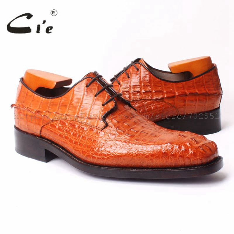 цена на cie Square Toe Plain Handmade men's Lacing Derby 100% Genuine Crocodile Leather Outsole Goodyear Welted Flats Shoe orange No.c