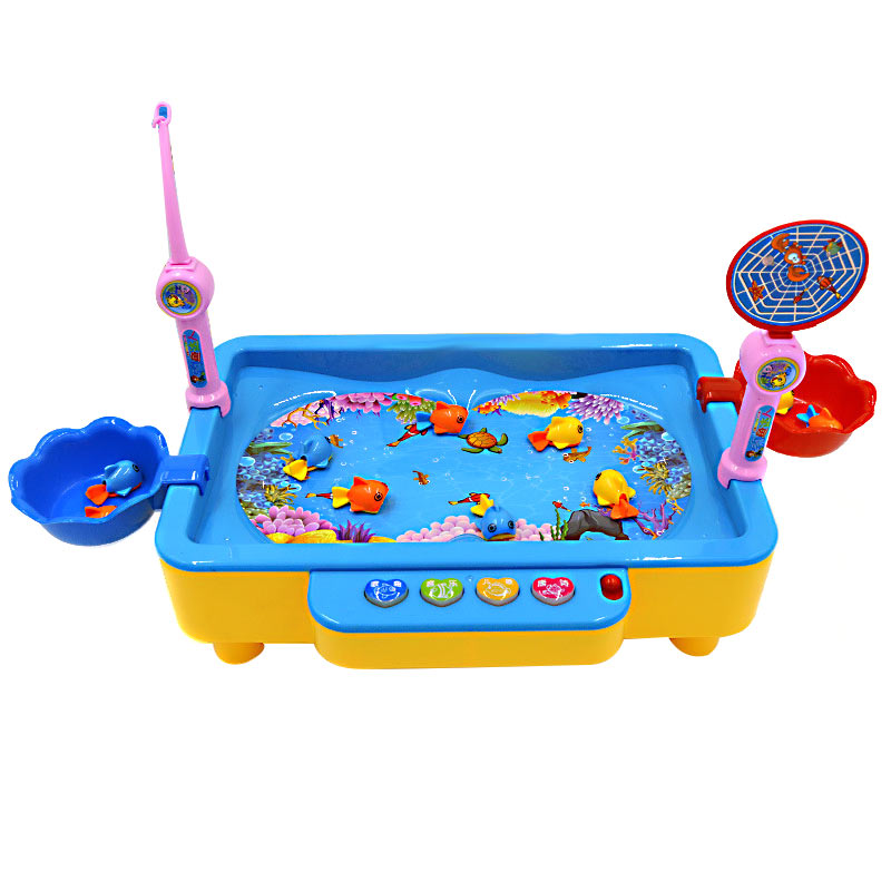 Childrens Kids Fishing Board Toy Game Fish Electric Magnetic Educational Rotating FJ88