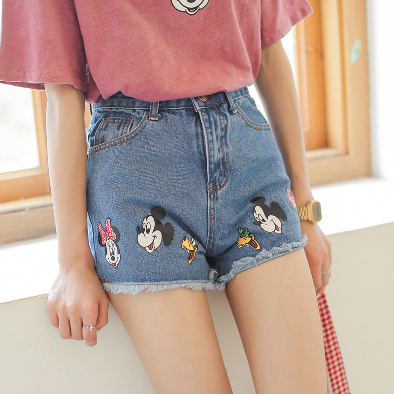 Aliexpress.com : Buy Cartoon Mouse Embroidery Denim Short Summer ...