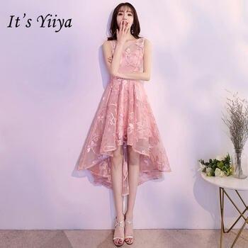 a5f8130e9d1d Es YiiYa moda bordado Rosa vestido de cóctel elegante sin mangas té de  longitud Formal vestido de fiesta JLM004