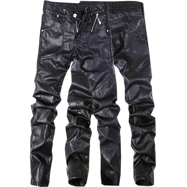 High quality pants Male faux leather pants for men personality slim motorcycle men's skinny leather pants (Asian Size)