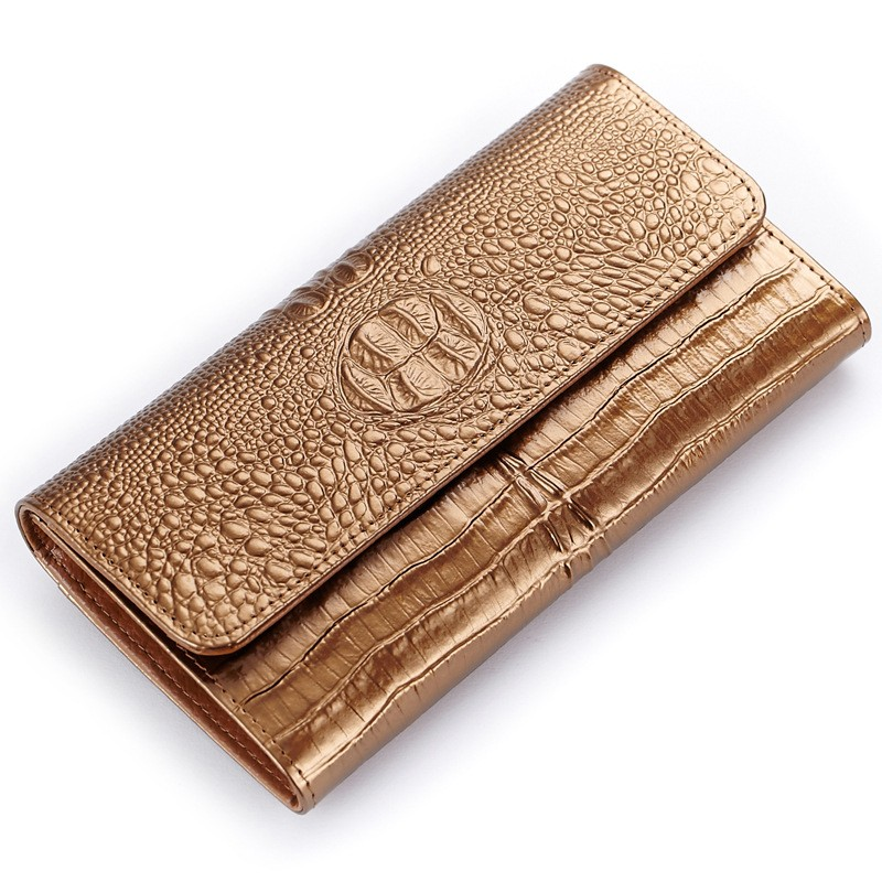 Women Cow Split Leather Wallets Ladies New Long 3 Fold Wallet Purses Hasp Crocodile Pattern Fashion Female Wallets Card Holder genuine cow leather women s wallet long style big capacity tri fold organizer wallets knitting women s purses jm 01289