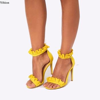 Olomm Women Gladiator Ruffles Sandals Stiletto Heels Sandals Open Toe Pink Yellow Black Wine Red Shoes Women US Plus Size 5-15