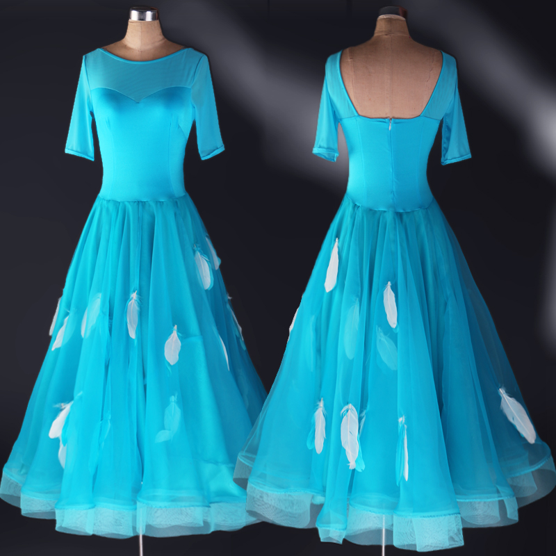 Ballroom Dance Costume Sexy Senior Feather Print Ballroom Dance Dress For Women Ballroom Dance Competition Dresses